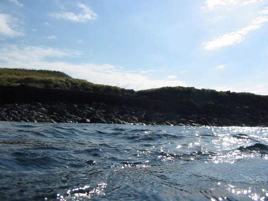 海から見た富賀浜の壁紙 1024×768【伊豆の海中壁紙 水中写真を壁紙にしました!】